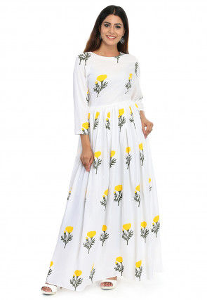Printed Rayon Maxi Dress in white