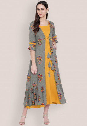Printed Rayon Midi Dress in Mustard and Grey