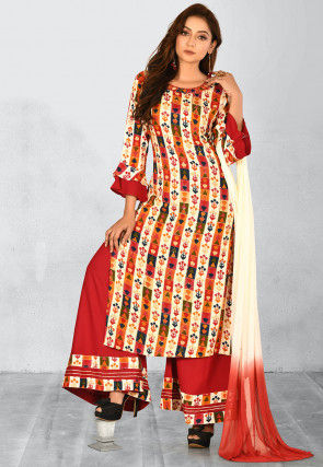Printed Rayon Pakistani Suit in Cream and Multicolor