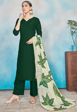 Printed Rayon Pakistani Suit in Green