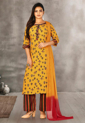 Printed Rayon Pakistani Suit in Mustard