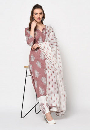Printed Rayon Pakistani Suit in Old Rose