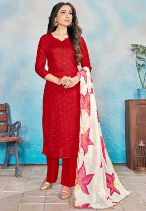 Printed Rayon Pakistani Suit in Red