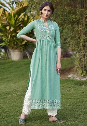 Printed Rayon Pakistani Suit in Teal Green