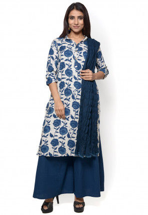 Printed Rayon Pakistani Suit in White and Blue