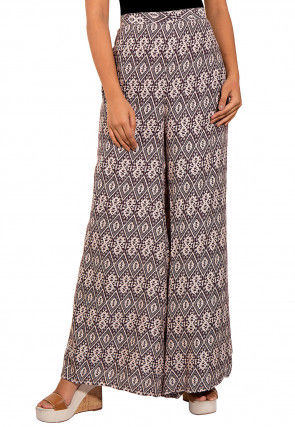 Printed Rayon Palazzo in White and Brown