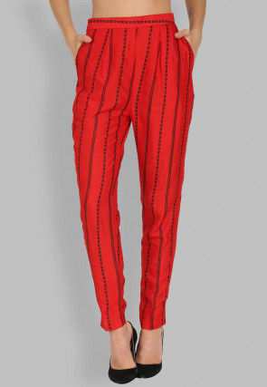 Printed Rayon Pant in Red