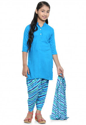 Printed Rayon Punjabi Suit in Blue