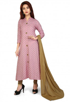 Printed Rayon Slub A Line Suit in Pink
