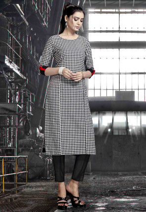 Printed Rayon Straight Kurta in Black and Off White