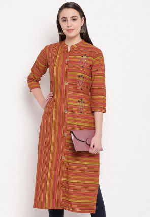 Printed Rayon Straight Kurta in Brown and Yellow
