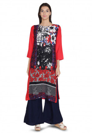Printed Rayon Straight Kurta in Multicolor and Red