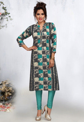 Printed Rayon Straight Kurta in Multicolor