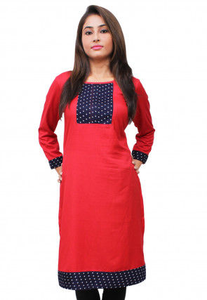 Printed Rayon Straight Kurta in Red