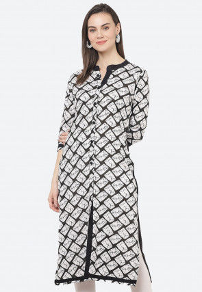 Printed Rayon Straight Kurta in White and Black
