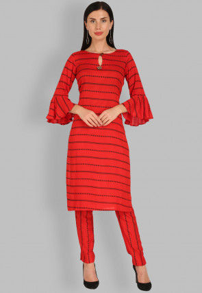 Printed Rayon Straight Kurta Set in Red