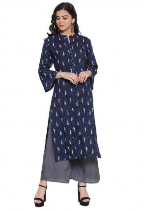 Printed Rayon Straight Kurta with Palazzo in Navy Blue