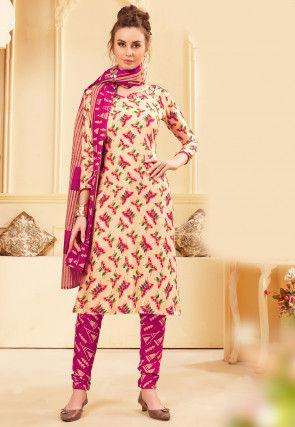Printed Rayon Straight Suit in Beige