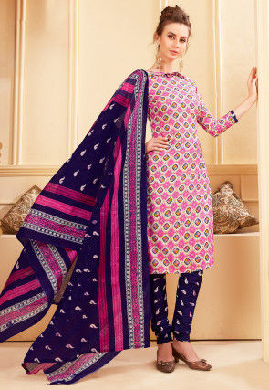 Printed Rayon Straight Suit in Pink