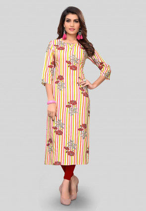 Printed Rayon Straight Suit Kurta in Multicolor