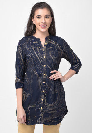 Printed Rayon Top in Navy Blue