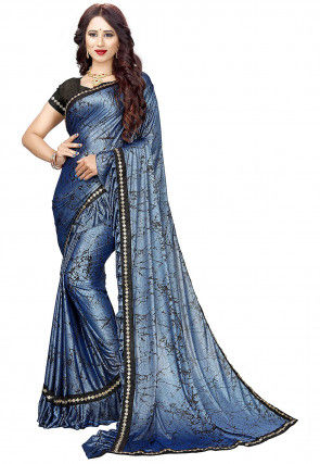 Printed Ruffled Lycra Shimmer Saree in Blue