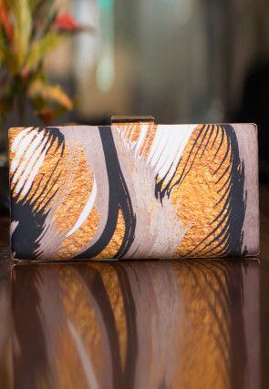 Printed Satin Box Clutch Bag in Multicolor