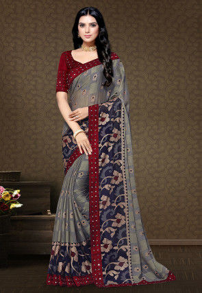 Printed Satin Chiffon Brasso Saree in Grey