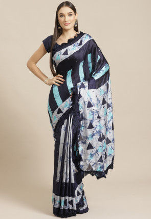 Printed Satin Chiffon Saree in Black and Off White