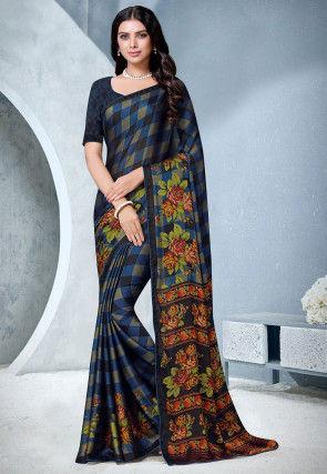 Printed Satin Chiffon Saree in Dark Blue