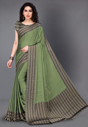 Printed Satin Chiffon Saree in Dusty Green
