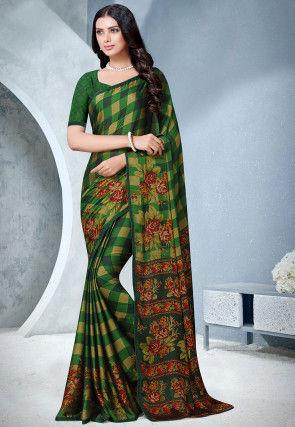 Printed Satin Chiffon Saree in Green