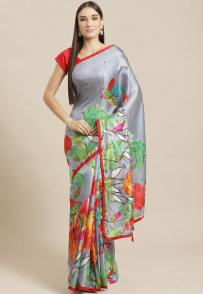 Printed Satin Chiffon Saree in Grey and Multicolor