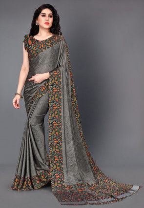 Printed Satin Chiffon Saree in Grey