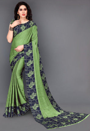 Printed Satin Chiffon Saree in Light Green