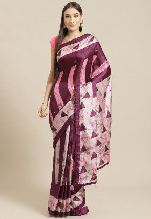 Printed Satin Chiffon Saree in Magenta and Cream