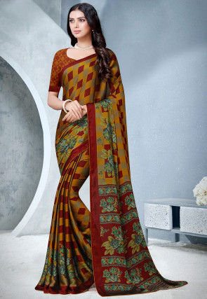 Printed Satin Chiffon Saree in Maroon and Mustard