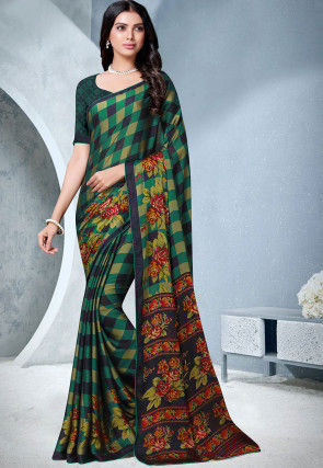 Printed Satin Chiffon Saree in Multicolor