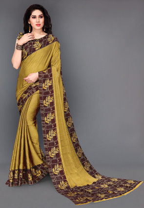 Printed Satin Chiffon Saree in Mustard