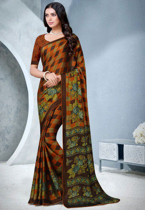 Printed Satin Chiffon Saree in Orange and Brown