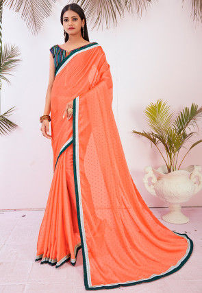 Printed Satin Chiffon Saree in Peach