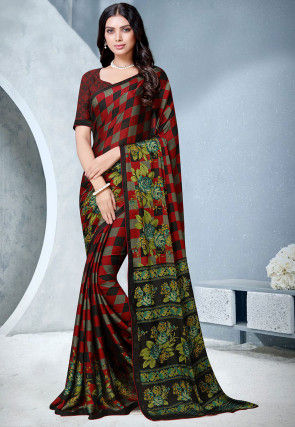 Printed Satin Chiffon Saree in Red and Black