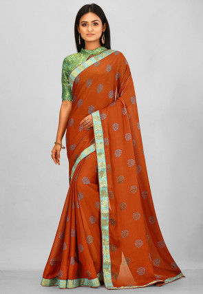 Printed Satin Chiffon Saree in Rust