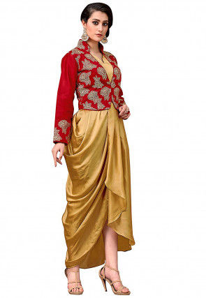 Printed Satin Cowl Style Dress in Golden