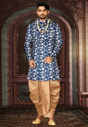 Printed Satin Dhoti Sherwani in Dark Blue