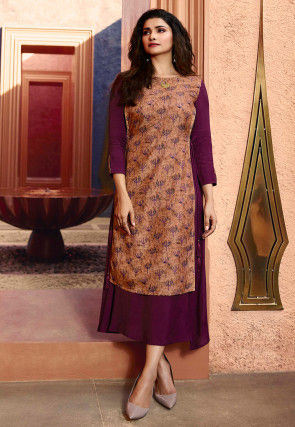 Printed Satin Georgette Layered Kurta in Wine and Brown