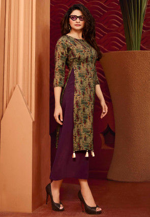Printed Satin Georgette Layered Kurta in Wine and Dusty Olive