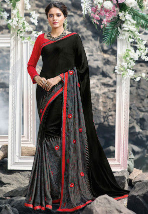 Printed Satin Georgette Saree in Black