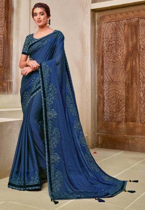 Printed Satin Georgette Saree in Dark Blue
