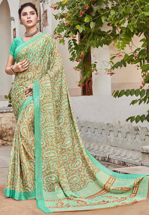 Printed Satin Georgette Saree in Green and Multicolor